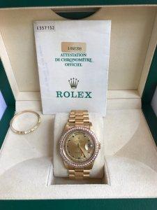 Đồng hồ Rolex 18238 Day-date vàng khối 18k mặt số đính Ruby xanh