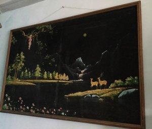 Tranh sơn dầu Tùng Lộc ngắm Trăng, khổ to 1,5x0,9 m