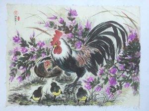 Gia đình gà bên bụi hoa dại sau vườn
