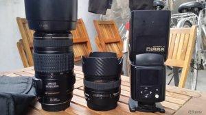 Canon 70 300 IS USM , Sigma 30 f1.4, flash Nissin Di866 mark II