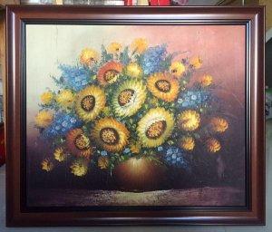 Giao lưu 1 tranh sơn dầu xưa, chủ đề hoa rất đẹp !