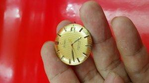 Omega seamaster deville vỏ vàng khối 14k mặt phên vàng hiếm gặp