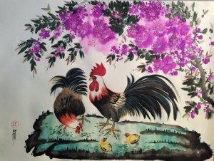 Gia đình gà bên bụi hoa dại tím sau vườn...
