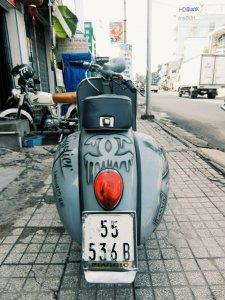 Bán Vespa cổ Mini lên máy 110cc, lên dáng ACMA, sơn AirBrush độc đáo