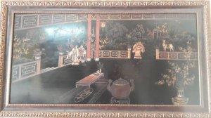 Tranh sơn mài sơn xưa mài khắc vẽ bột ngà voi của Lê Thành