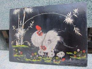 Tranh gà , sơn mài vẽ