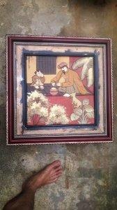 Bán Bức tranh Thầy Đồ bằng gốm nung , kt 53cmx53cm