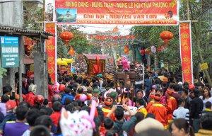 Rước kiệu lội ao lạnh, Lễ hội chùa Phượng Vũ ở Thái Bình