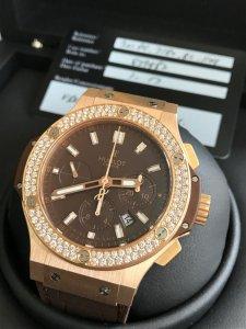 ( Đã bán) Đồng hồ Hublot Big bang vàng đỏ niền kim cương, size 44mm, fullbox mới tinh