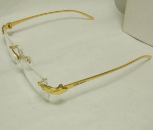 Mắt kính Catier Panthere Rimless Gold Plated made in France hàng Replica Hong Kong sản xuất