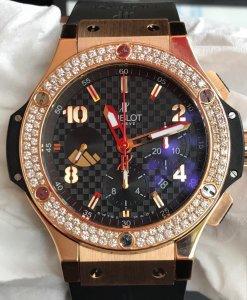 ( Đã bán )Đồng hồ Hublot Big Bang vàng hồng 18k niềng kim cương limited 40/50 cực đẹp, size 45mm