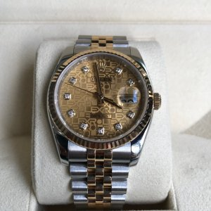 ( đã bán )Đồng hồ Rolex 116233 Demi vàng vàng, mặt vi tính, cọc số đính kim cương thiên nhiên