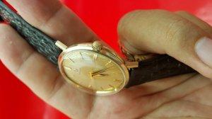 Omega vỏ vàng khối 14k, mặt phên vàng xưa chính hãng thụy sỹ
