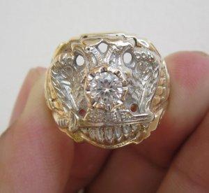 Nhẫn Masonic phome xưa thấp đại bàng hoành tráng. Vàng 10-14K