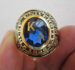Nhẫn mỹ 10K Hột xanh topaz khảm vàng, năm 1939 rất xưa