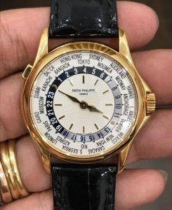 Patek Philippe World Time vỏ vàng đúc 18K zin Thuỵ Sỹ toàn bộ 100% Size 38mm