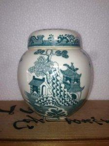Hũ trà Anh Quốc Mason's ironstone. Made in England, màu xanh.