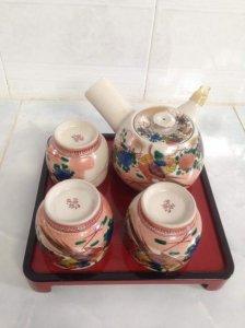 Bộ trà xưa men rạn, vẽ tay đôi chim và hoa mẫu đơn, Nhật.