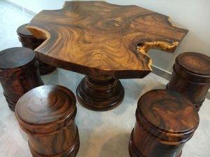 Giao lưu 2 bộ bàn ăn gỗ me tây