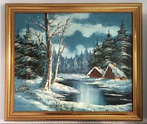 Tranh sơn dầu châu Âu, cảnh mùa đông tuyệt đẹp, tranh gốc nguyên bản của họa sỹ P.Cantrell