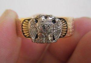 Nhẫn Masonic vòng tròn vàng trắng và vàng vàng 14k,6 biểu tượng bên ngoài và hoa văn nghệ thuật