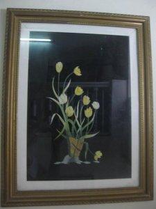 Tranh thêu khóm hoa, KT 40x53cm