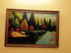 """Tranh sơn dầu: """"Rừng cây bên hồ"""""""