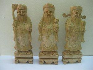 Bộ tượng 3 ông Tam đa gỗ Pơ mu chiều cao 28 cm