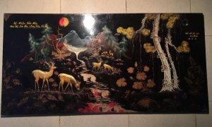 Tranh sơn mài Tùng Lộc xưa 1974 . Khổ 1,2 m x 0,6 m