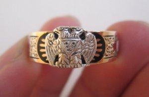 Nhẫn Masonic vòng tròn 10K,vàng hai màu,6 biểu tượng bên ngoài và chữ bên trong tuyệt đẹp