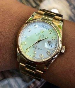 Rolex 118208 mặt Hột lớn dây vỏ vàng đúc 18K zin Thuỵ Sỹ