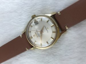 """Omega Constellation Chronometer Automatic Pie Pan """"dog leg"""" solid 14k gold Cal561"""
