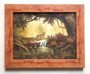Thanh lý giá rẻ tranh sơn dầu châu Âu (họa sỹ Yaude) cảnh thiên nhiên nai suối...