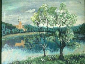 Tranh sơn dầu phong cảnh của họa sĩ Hà vẽ năm 2004.