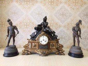 Bộ đồng hộ tượng atimon dát vàng 3 người lính ( đặc biệt hiếm ) sản xuất Pháp 1900.