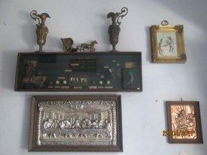Bức tranh buổi tiệc ly bằng đồng mạ bạc dập nổi, hàng châu âu xưa.