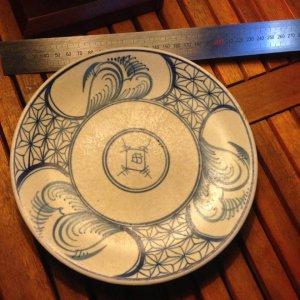 Đĩa sứ cổ vẽ tay 2 mặt, đĩa lành đường kính 20 cm