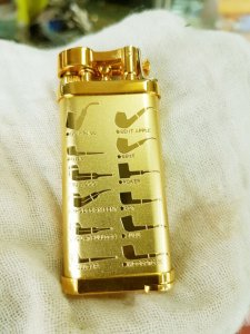 Bật lửa CORONA mạ vàng hút tẩu lửa xéo chính hãng