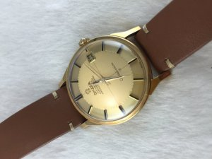 "Omega Constellation Chronometer Automatic Pie Pan ""dog leg"" solid 18k gold Case & Dial Cross Cal561"