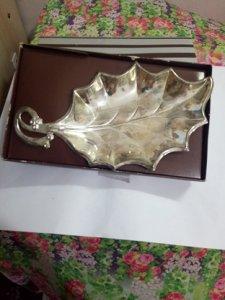 Dĩa  chiếc Lá bằng SILVER PLATED GÌFT HUGO MADE IN HONGKONG