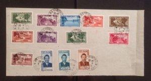 Miếng giấy dán đủ bộ Phong cảnh + Bảo đại , dấu Hải Phòng 2/4/1953