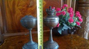 2 cây đèn dầu mini bằng đồng thau