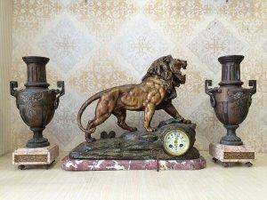 Bộ đồng hồ tuợng atimon Sư Tử chân đế đá marbe nguyên khối ( hàng sưu tầm ) sx Pháp 1900