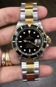 Rolex Submariner 16613 Automatic đơmi vàng đúc 18K zin Thuỵ Sỹ 100%
