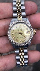 """Rolex 6917 mặt """"Hột lớn"""", niềng Hột đơmi vàng đúc 14K zin Rolex Thuỵ Sỹ"""