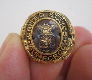 Nhẫn bạc xi vàng 18K, Không Quân Hoa Kỳ, hột xanh khảm huy hiệu không quân