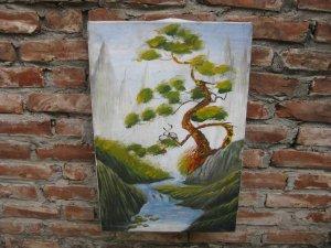 Tranh sơn dầu: Sông quê êm đềm, Tùng hạc