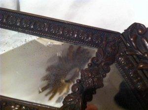 Gương cổ đồng dập nổi NAPOLEON III Pháp 1800 . ( sưu tầm hàng độc )