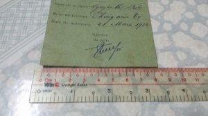 Thẻ chứng nhận lỉnh tiền indochine 1938