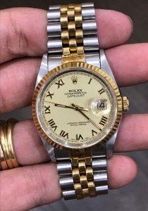 """Rolex 16233 """"La mã lớn"""" Automatic đơmi vàng đúc 18K zin Thuỵ Sỹ 100% Size 36mm"""